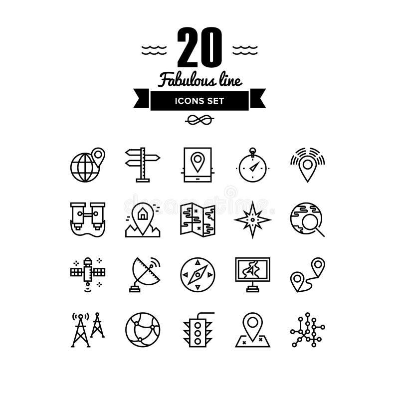 Lugar de Geo e linha ícones da navegação ajustados ilustração royalty free