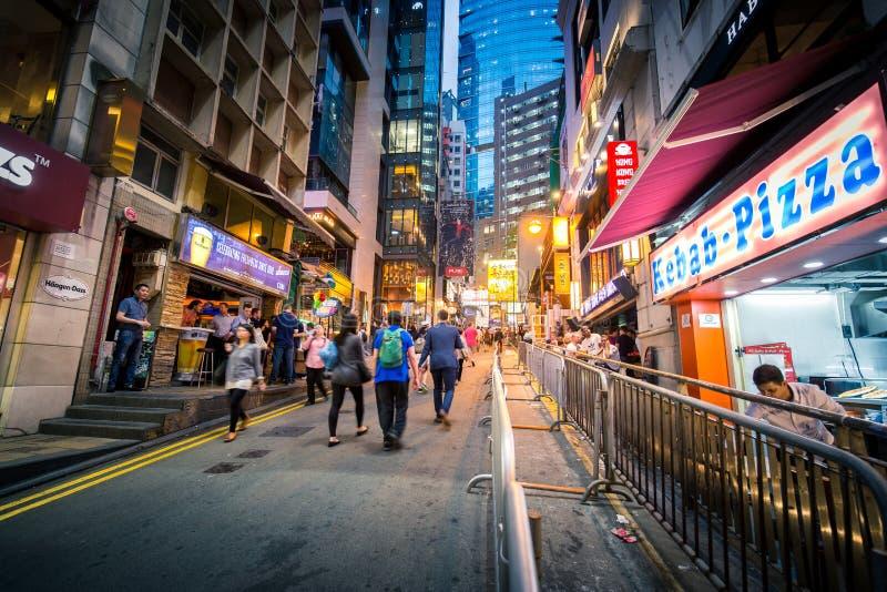 Lugar de Hong Kong Famous Nightlife - Lan Kwai Fong fotografia de stock royalty free