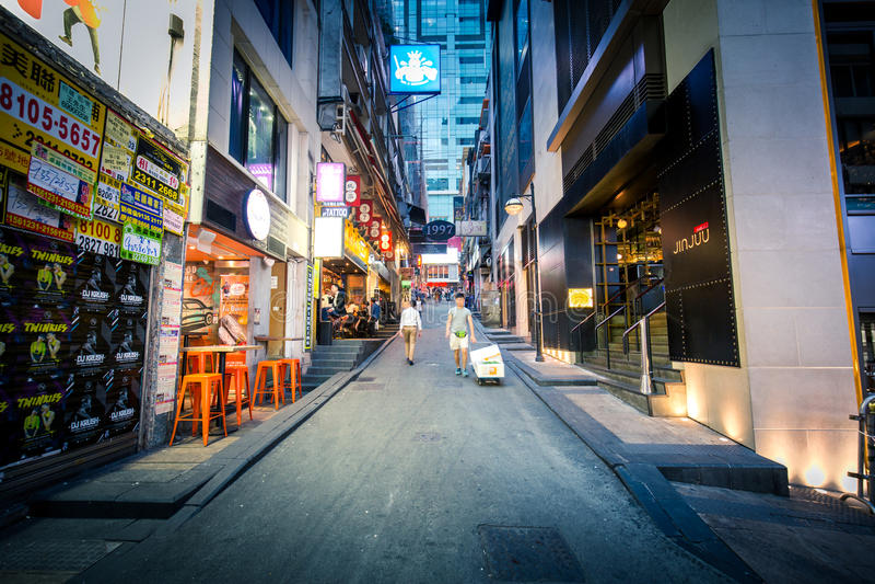 Lugar de Hong Kong Famous Nightlife - Lan Kwai Fong foto de stock