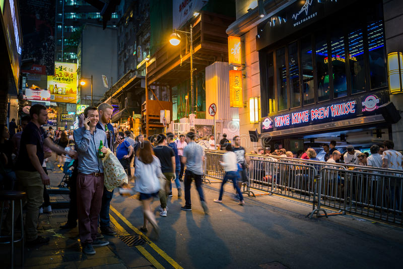 Lugar de Hong Kong Famous Nightlife - Lan Kwai Fong imagem de stock
