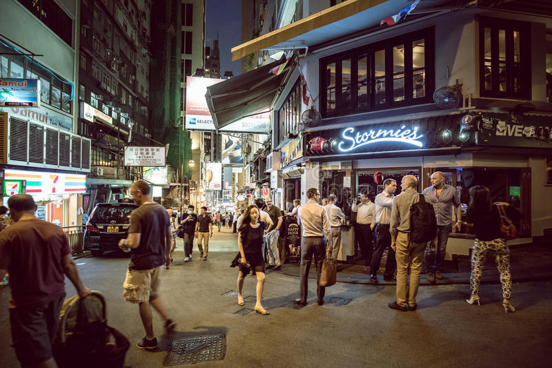 Lugar de Hong Kong Famous Nightlife - Lan Kwai Fong fotografia de stock
