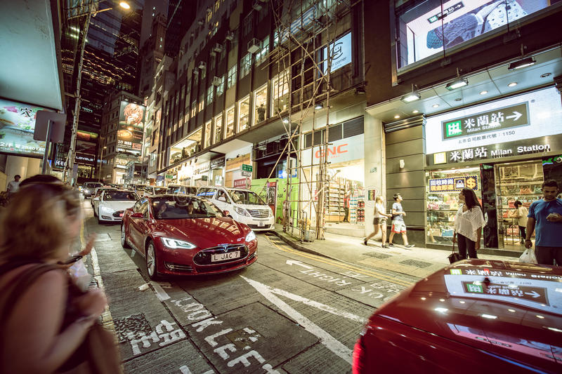 Lugar de Hong Kong Famous Nightlife - Lan Kwai Fong fotos de stock