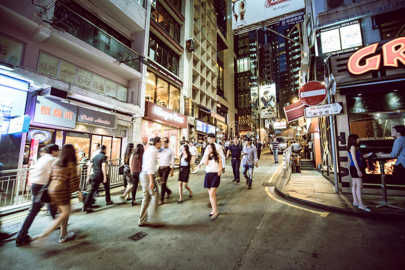 Lugar de Hong Kong Famous Nightlife - Lan Kwai Fong imagens de stock