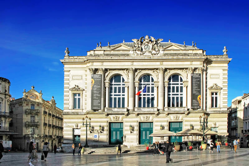 Lugar de la Comedie - quadrado do teatro de Montpellier imagens de stock