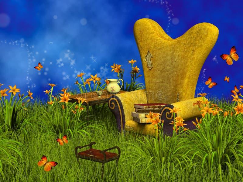 Lugar de la lectura de la fantasía stock de ilustración