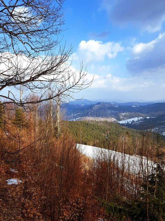 Lugar de la observación en Bukovel, montañas cárpatas imagenes de archivo