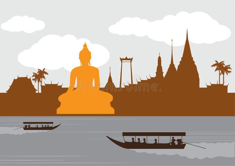 Lugar de la señal y del viaje de Tailandia, templo, fondo stock de ilustración