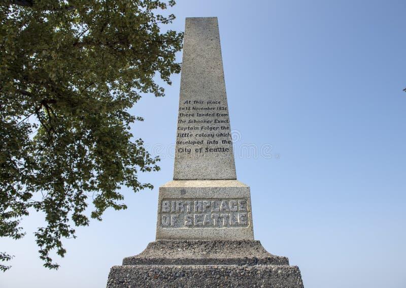 Lugar de nacimiento del monumento de Seattle, Alki Beach, Seattle, Washington foto de archivo libre de regalías