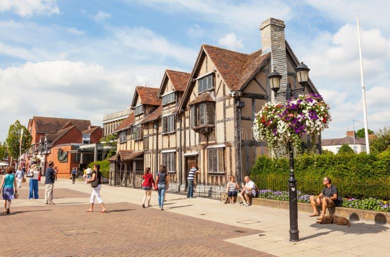 Lugar de nacimiento del ` s de Shakespeare en Stratford-sobre-Avon fotografía de archivo libre de regalías