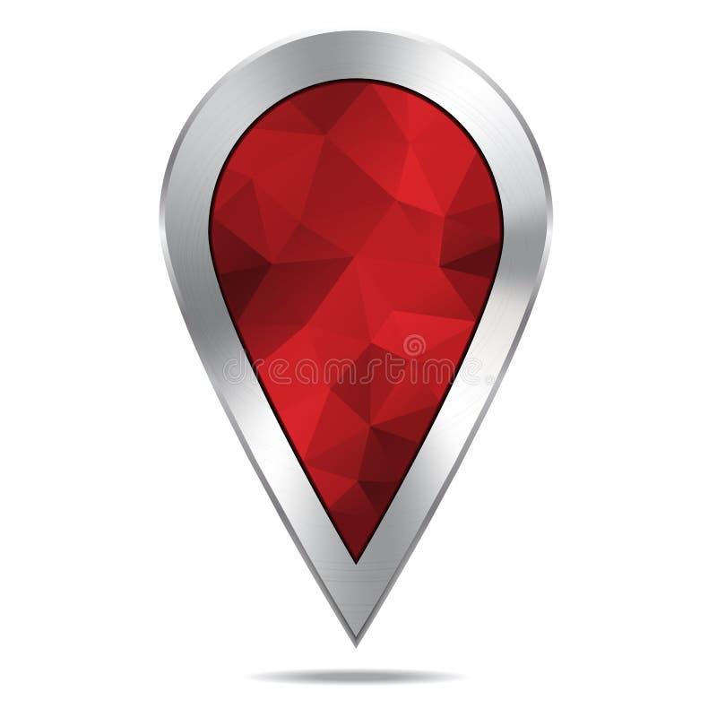 Lugar de prata Diamond Pointer Icon do mapa ilustração stock