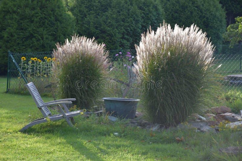 Lugar de relaxamento no jardim confortável fotografia de stock