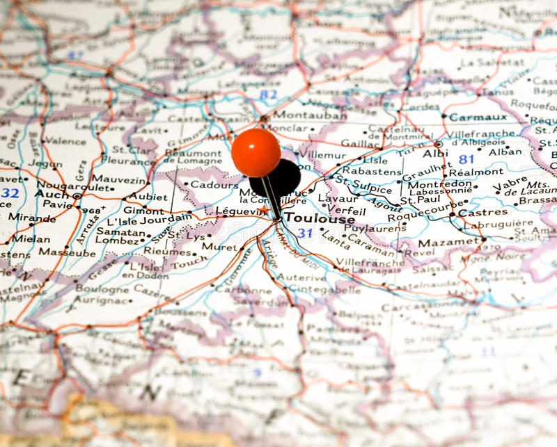 Lugar de Toulouse fixado no mapa de rota imagem de stock royalty free