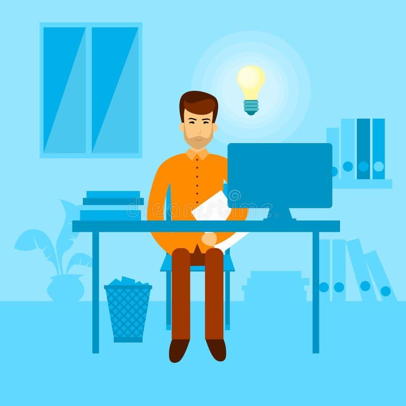 Lugar de trabajo asiático de la oficina de la idea de la bombilla del escritorio del hombre de negocios que se sienta nuevo ilustración del vector