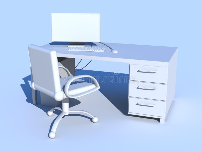 Lugar de trabajo azul de la PC ilustración del vector