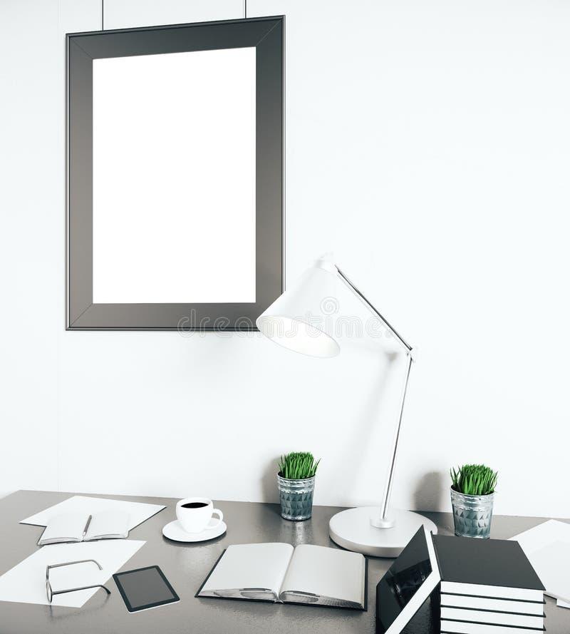 Lugar de trabajo brillante con el marco vacío ilustración del vector
