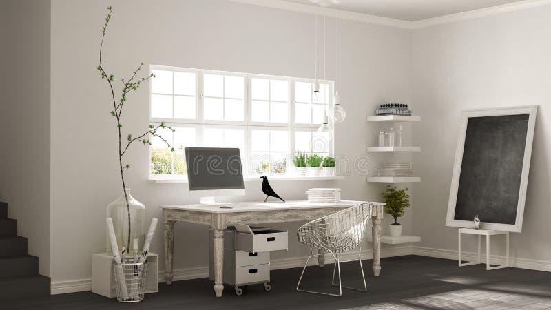 Lugar de trabajo casero, oficina escandinava de la esquina del sitio de la casa, m clásico fotos de archivo