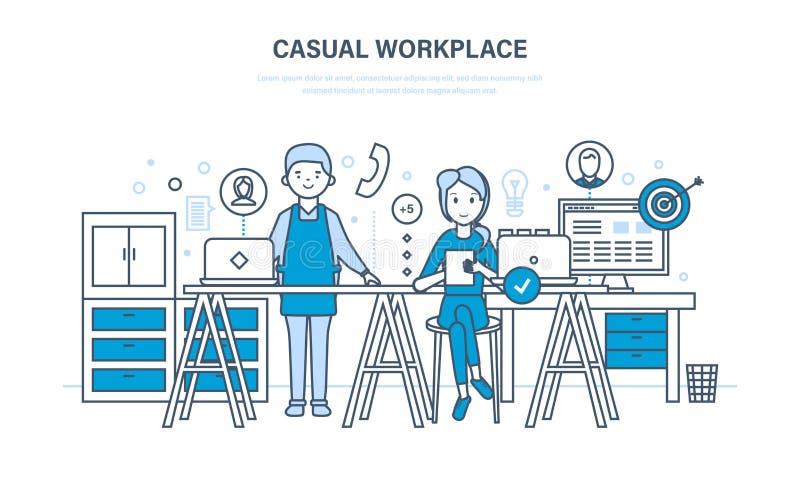 Lugar de trabajo casual Interior del sitio y del lugar de trabajo, muebles, dispositivos, trabajo en equipo ilustración del vector