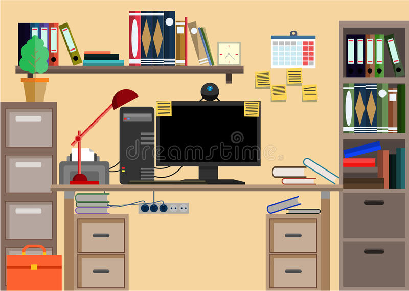 Lugar de trabajo con cosas de la oficina equipo objetos for Equipo de oficina