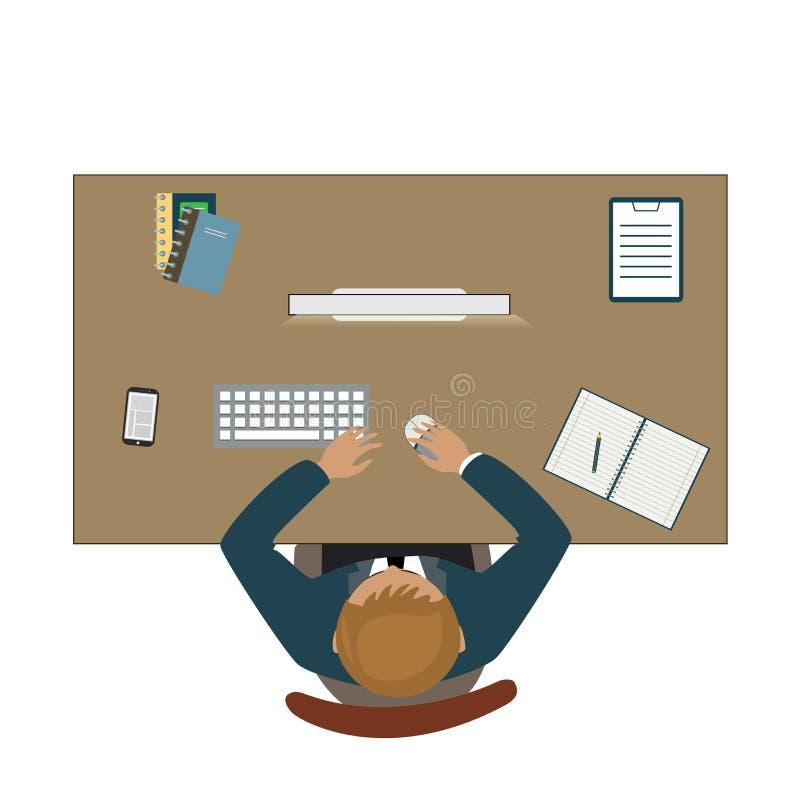 Lugar de trabajo con el hombre de negocios de la visión superior u oficinista en la tabla ilustración del vector