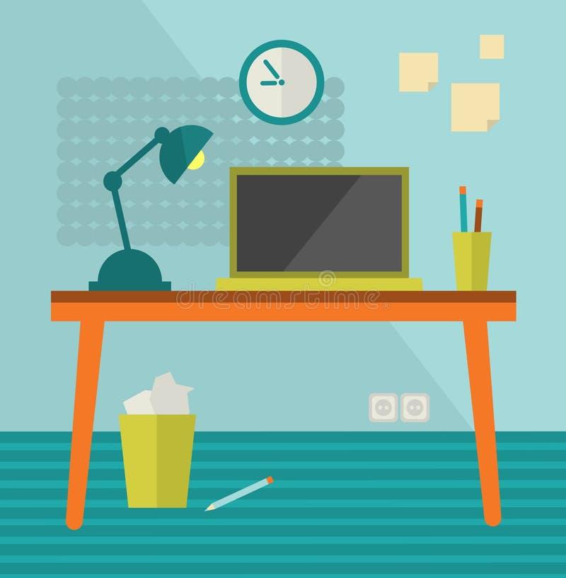 Lugar de trabajo con el ordenador del moder en la tabla retra. stock de ilustración