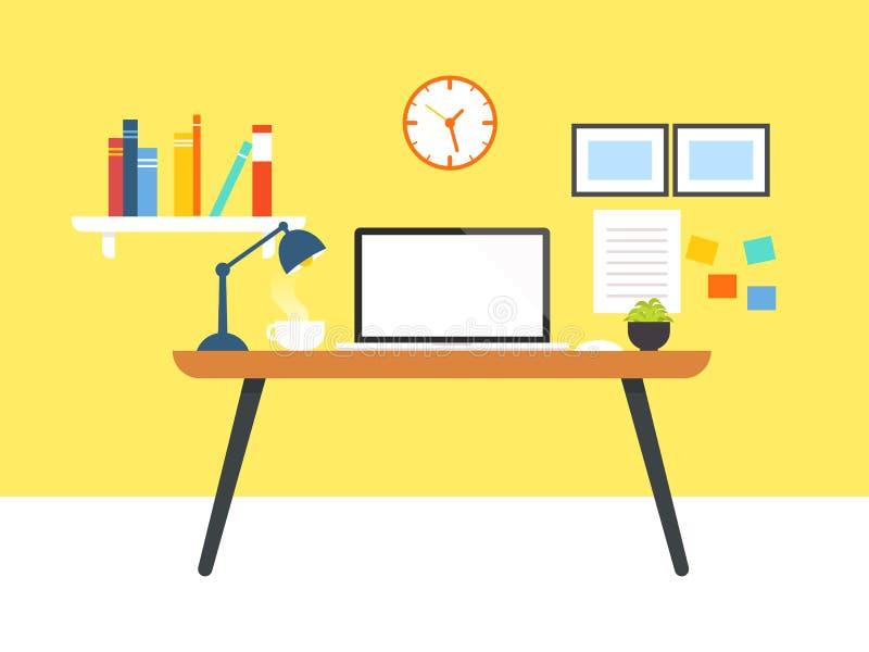 Lugar de trabajo con el ordenador portátil de la pantalla en blanco ilustración del vector