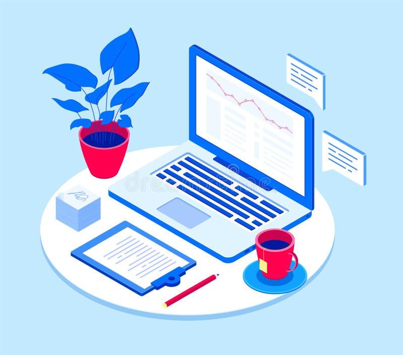 Lugar de trabajo con el ordenador portátil - ejemplo isométrico del vector moderno libre illustration