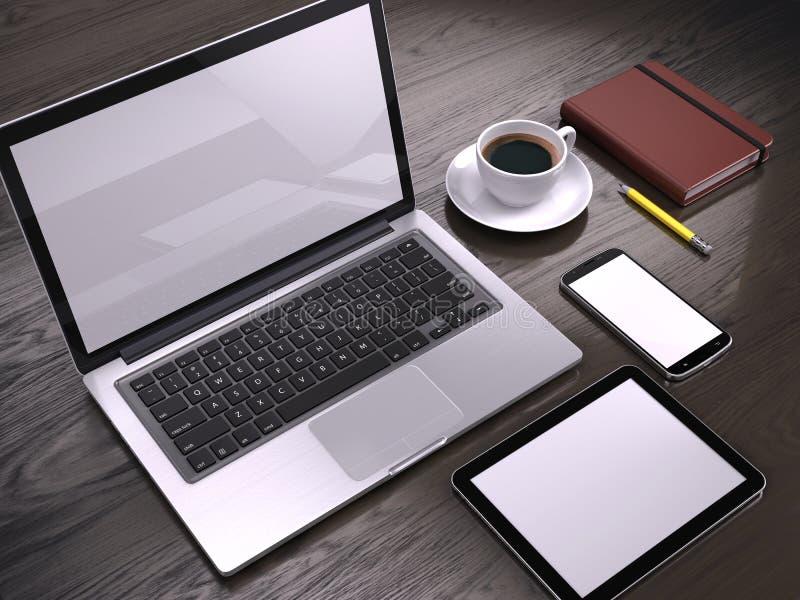 Lugar de trabajo con el ordenador portátil, el Tablet PC y el smartphone con las pantallas en blanco en la tabla libre illustration