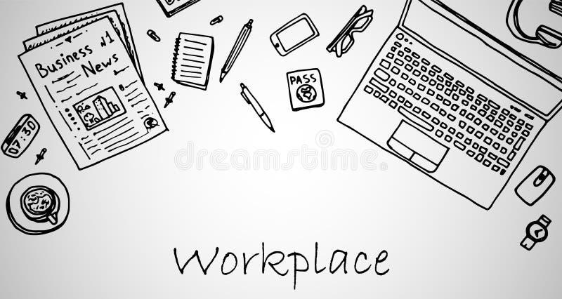 Lugar de trabajo con el ordenador port?til, smartphone, peri?dicos y art?culos, taza de caf?, cuaderno, pluma con el l?piz, auric stock de ilustración