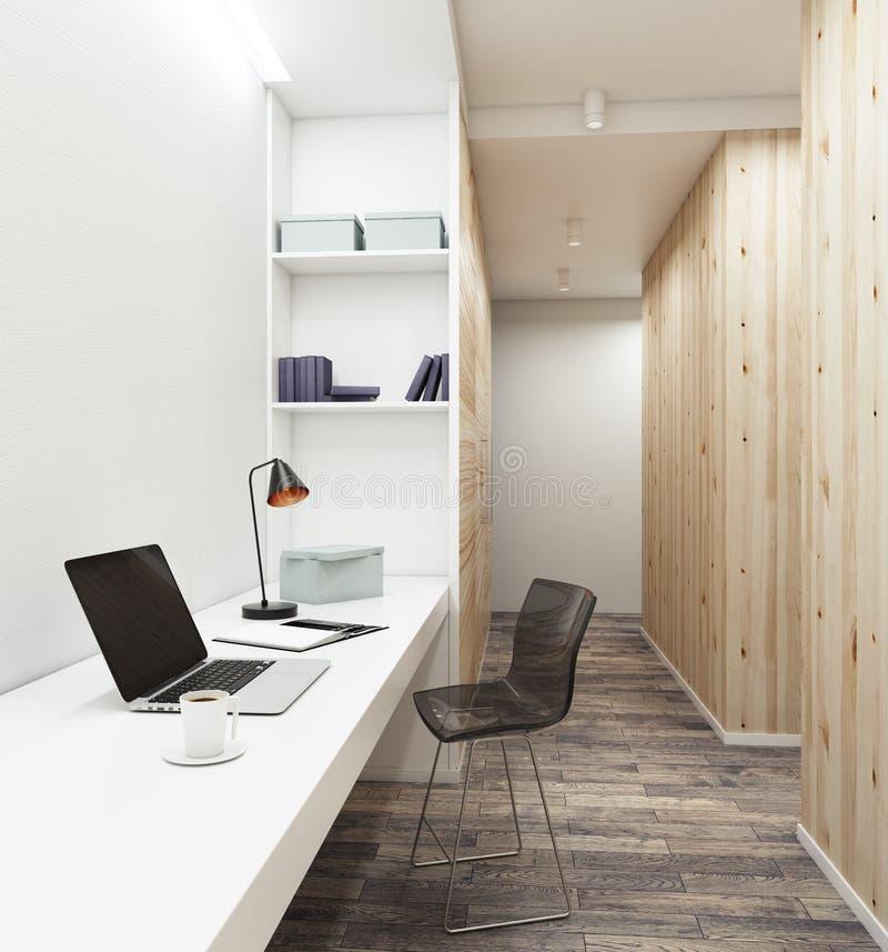 Lugar de trabajo con el ordenador portátil vacío en interior moderno stock de ilustración