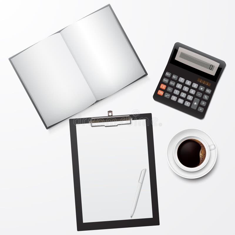 Lugar de trabajo con el tablero, el libro, el café y la calculadora ilustración del vector