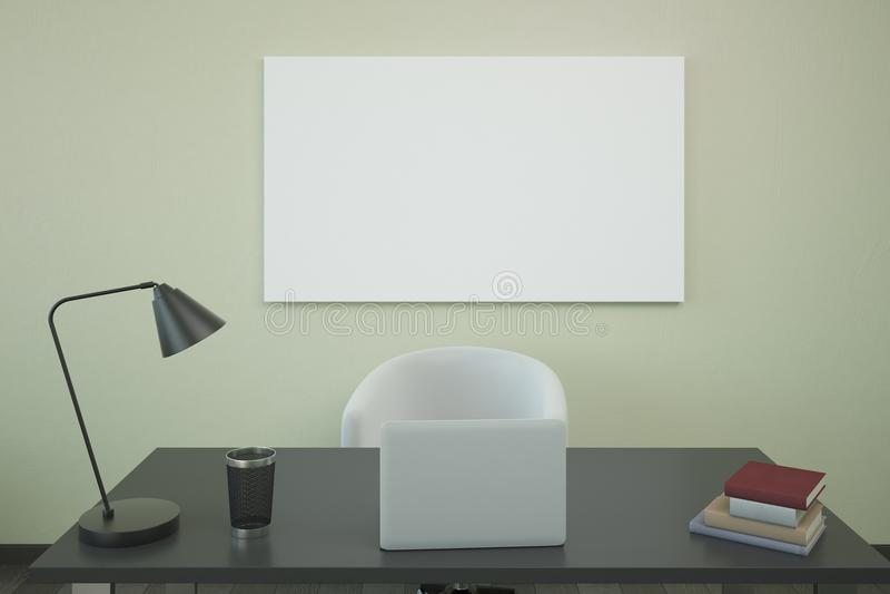 Lugar de trabajo con la cartelera stock de ilustración