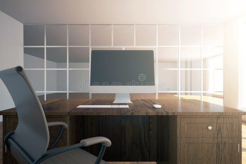 Lugar de trabajo con la pantalla de ordenador vacía libre illustration
