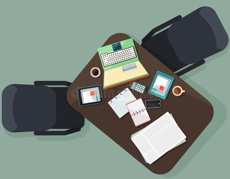 Lugar de trabajo con los dispositivos electrónicos y la cancillería stock de ilustración