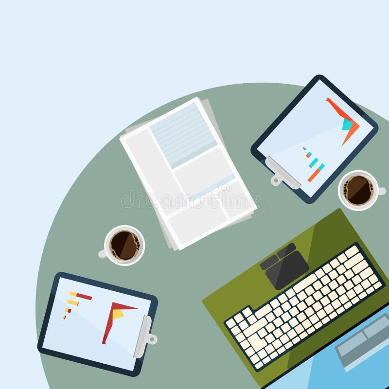 Lugar de trabajo con los dispositivos electrónicos y la cancillería ilustración del vector