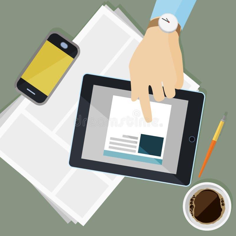 Lugar de trabajo con los dispositivos electrónicos y la cancillería en diseño plano ilustración del vector