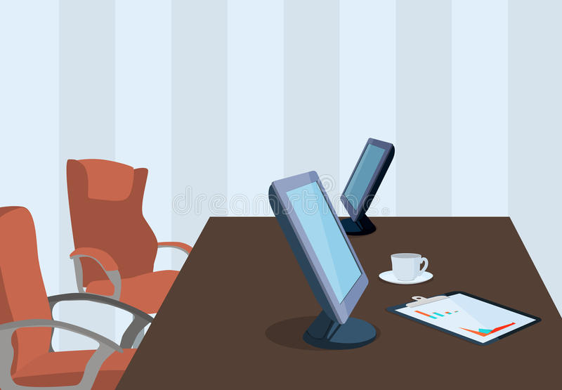 Lugar de trabajo con los dispositivos electrónicos y la cancillería en diseño plano stock de ilustración
