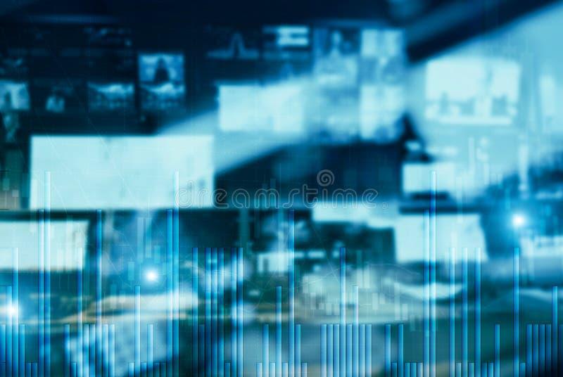 Lugar de trabajo con los ordenadores Monitores del fondo de los comerciantes comunes libre illustration