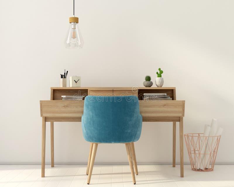 Lugar de trabajo con una silla rosada ilustración del vector