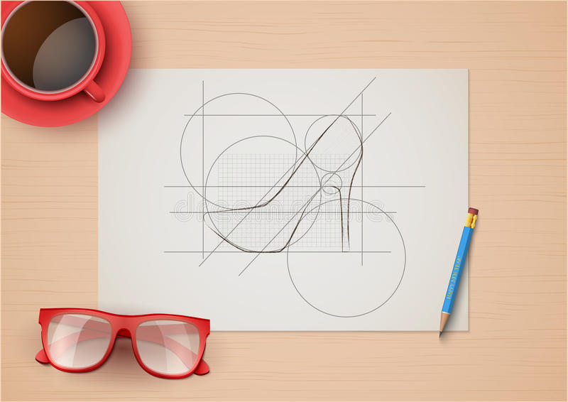 Lugar de trabajo creativo de diseñadores de moda Visión superior libre illustration