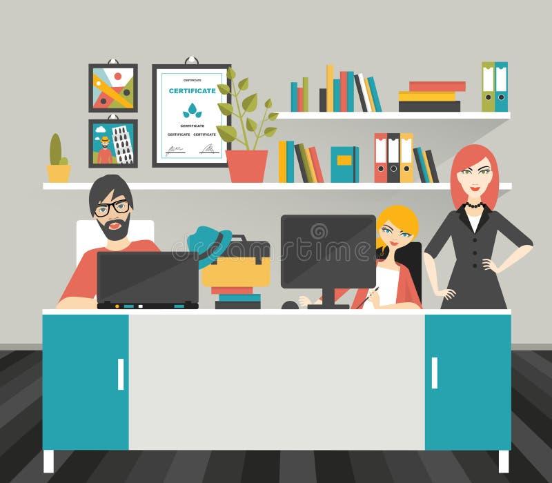 Lugar de trabajo de la oficina del colega ilustración del vector