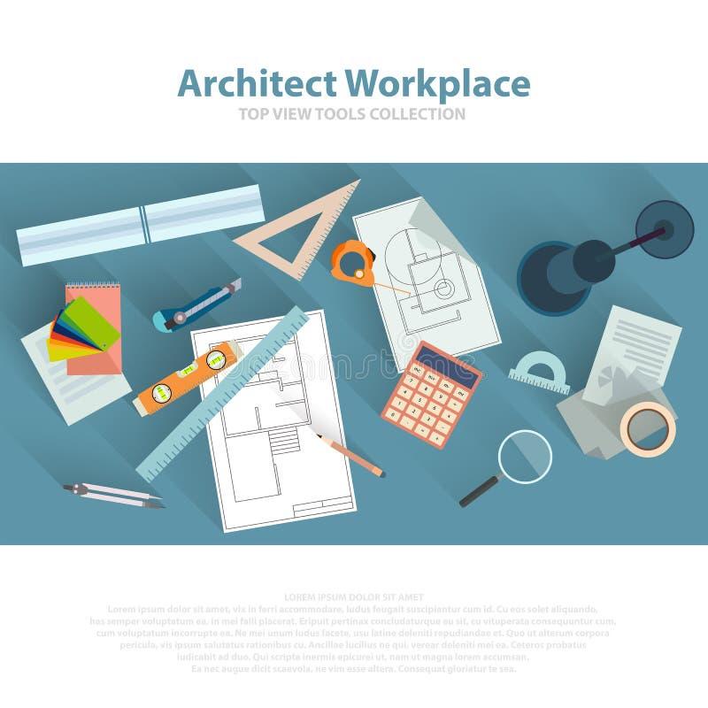 Lugar de trabajo de los arquitectos con las herramientas arquitectónicas, modelos, regla, calculadora, compás del divisor Concept stock de ilustración