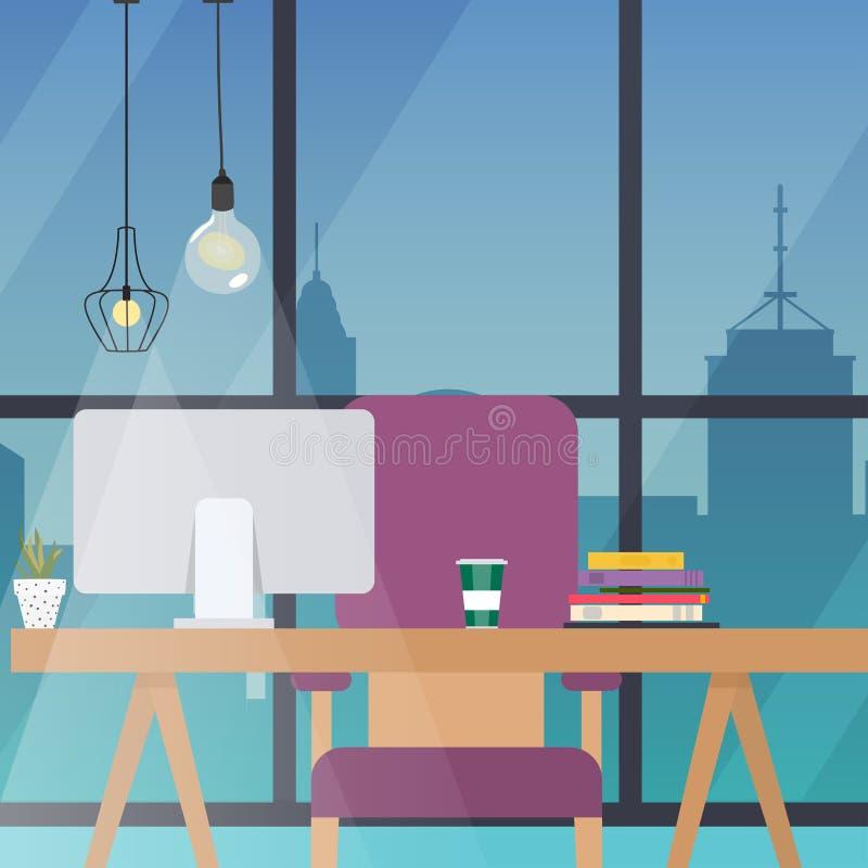 Lugar de trabajo de oficina Diseño plano moderno stock de ilustración
