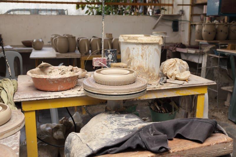 Lugar de trabajo del alfarero fotografía de archivo libre de regalías