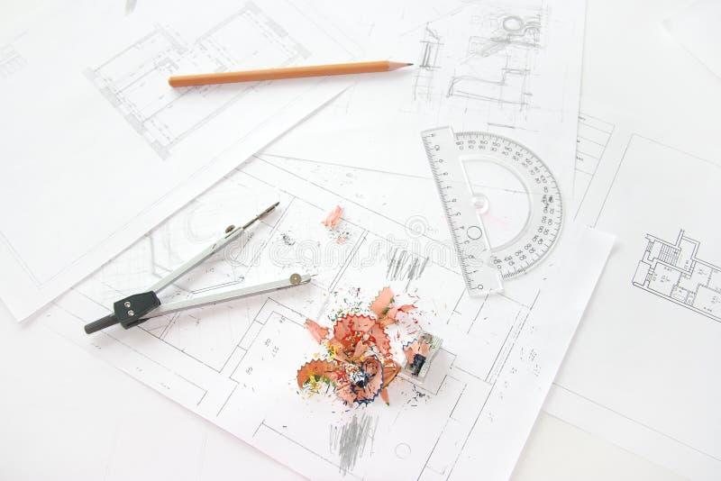 Lugar de trabajo del arquitecto foto de archivo
