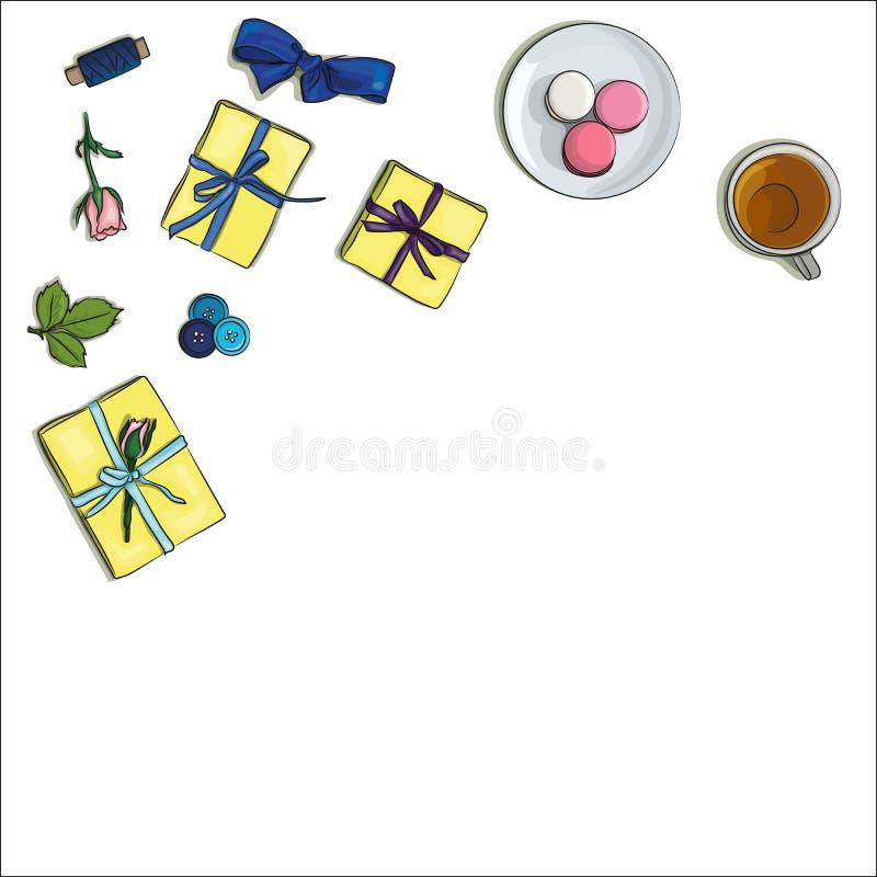 Download Lugar De Trabajo Del Desinger Ilustración del Vector - Ilustración de taza, cepillo: 100528291