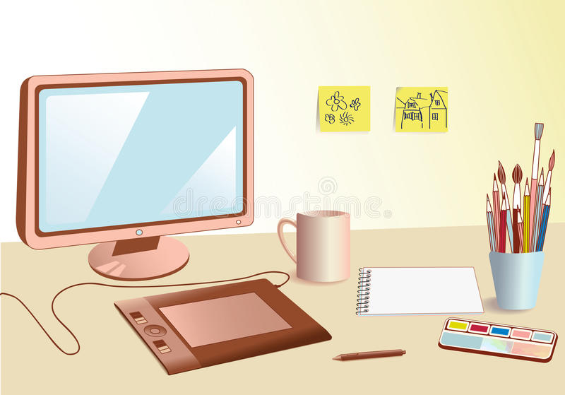 Lugar de trabajo del diseñador stock de ilustración
