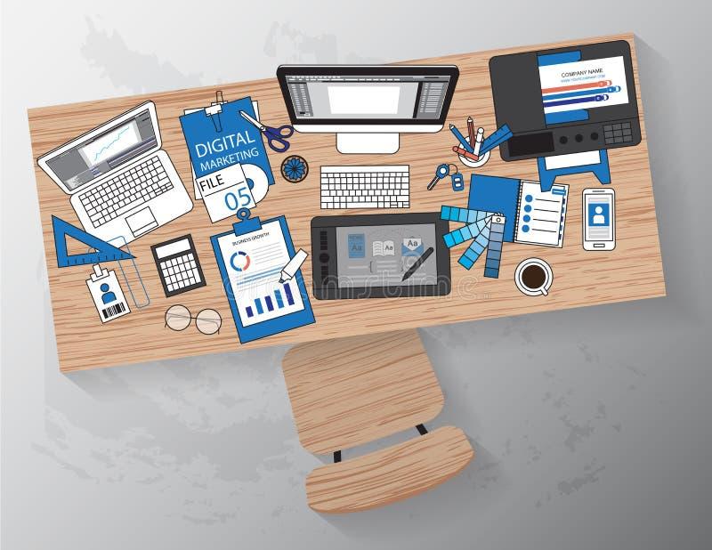 Lugar de trabajo del diseñador con los dispositivos para el trabajo, bandera diseñada plana stock de ilustración