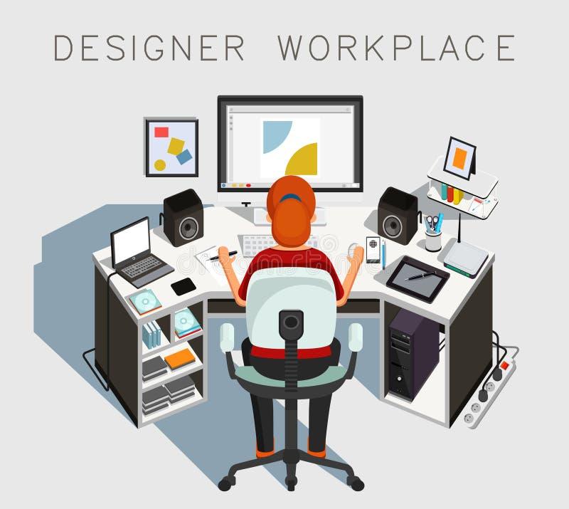 Lugar de trabajo del diseñador Diseñador en el trabajo Vector stock de ilustración
