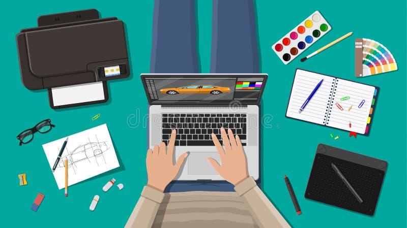 Lugar de trabajo del diseñador independiente ilustración del vector