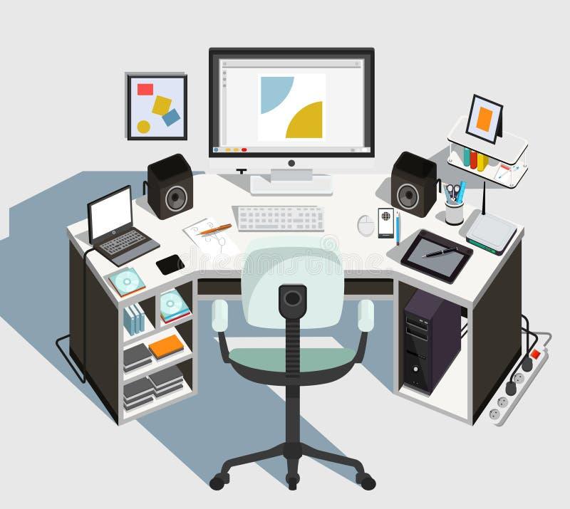Lugar de trabajo del diseñador Vector ilustración del vector
